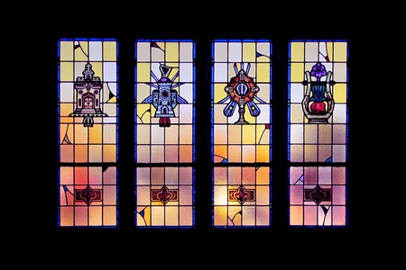 catholic stained glass: Stained glass window.