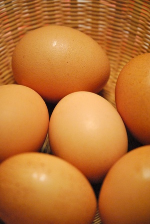 Brown speckled eggs in a basket; shallow DOF. Stock Photo