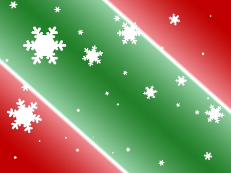 Colorful digital art background of red and green with white snowflakes.