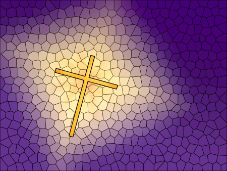 Colorful digital art  for Easter with cross against random tiled background. photo