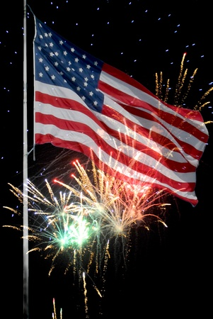 US flag image layered over fireworks display for Independence Day. Stock Photo - 12394408