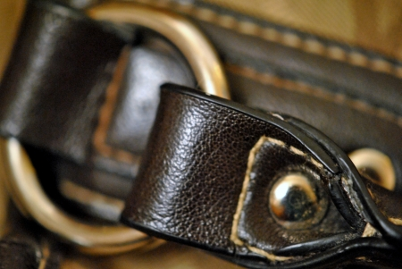 leather strap and brass hardware