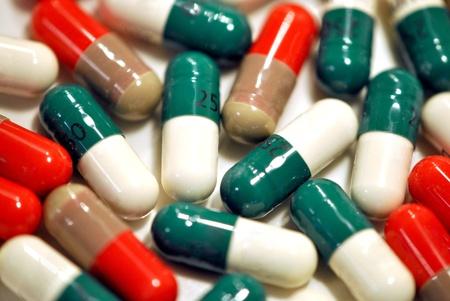 Closeup of brightly colored medicine capsules Stock Photo