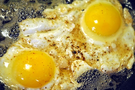 Two eggs frying in bacon fat  photo