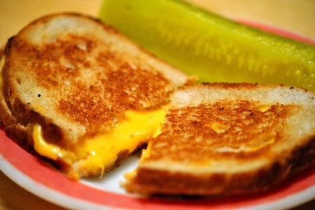 Classic grilled cheese sandwich, a traditional favorite for Lent or anytime Stock Photo - 12394447