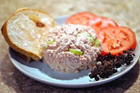 abstinence: A light lunch of tuna salad with toasted rye bread, tomatos, and a sprig of lemon thyme