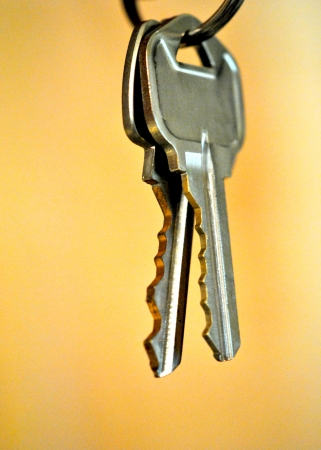 Set of two keys on a ring against a golden background; closeup, shallow DOF   Lots of copy space  photo