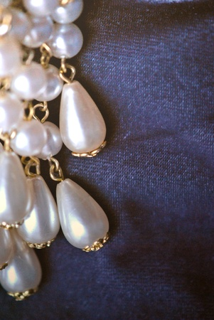 Pearl brooch, a cluster of cascading teardrop pearls   Closeup Stock Photo