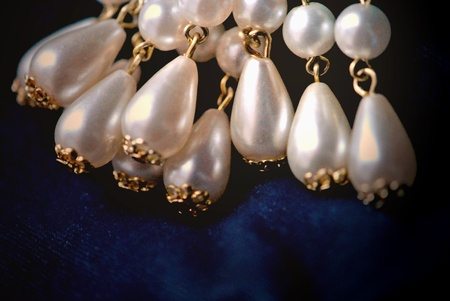 Pearl brooch, a cluster of cascading teardrop pearls   Closeup Stock Photo - 12580030