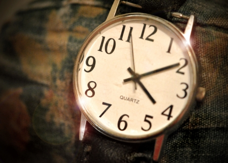 Old worn watch face  Stock Photo