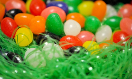 Jelly beans in a nest of green decorative grass; space for your copy  photo