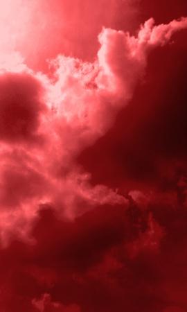Cloudy sky colorized with crimson effect  Banco de Imagens
