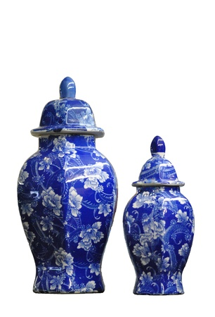 Two blue and white china ginger jars   Isolated on white; lots of copy space