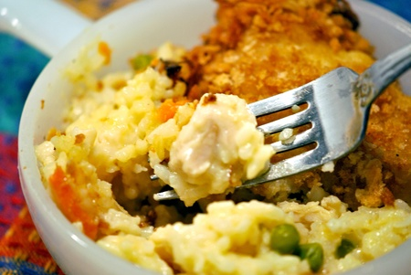 A generous bite of chicken casserole on a fork Stock Photo - 13510031