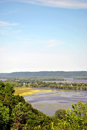 floodplain: Looking across the Mississippi River to Wisconsin from a point near Guttenberg, Iowa  Stock Photo