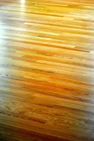 Red oak floor with glossy finish