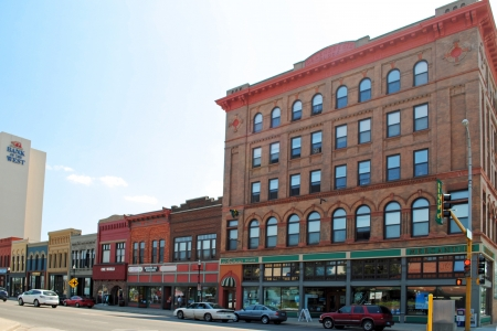 Historic buildings along Main Ave  in downtown Fargo, North Dakota  Editorial