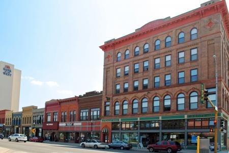 Historic buildings along Main Ave  in downtown Fargo, North Dakota  Editorial
