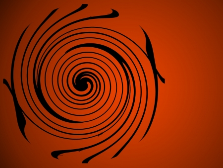 Sophisticated art-deco swirl of black on orange   Great Halloween background; plenty of copy space