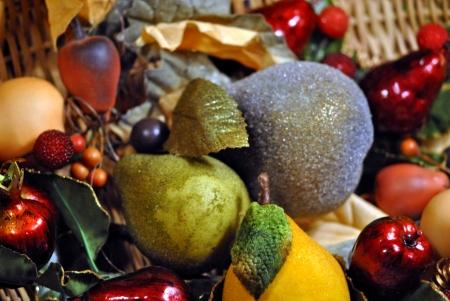 Basket of decorative fruit  Stock Photo