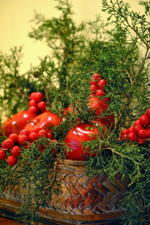Basket filled with red fruit and evergreen branches  Reklamní fotografie