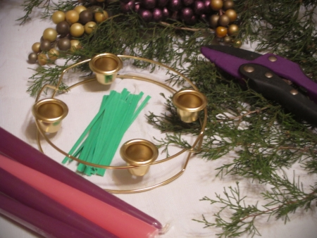 All the equipment and supplies set out ready to make the Advent wreath  Фото со стока