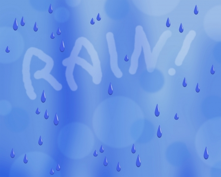 Illustration of raindrops with RAIN  in misty letters on blue background