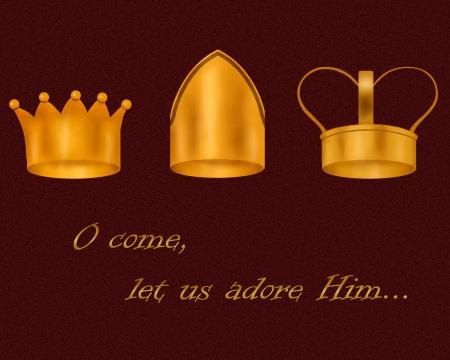 rois mages: Les couronnes des Sages; texte se lit O come, laissez-nous adorer