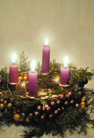 advent candles: Advent wreath with lighted candles  Stock Photo