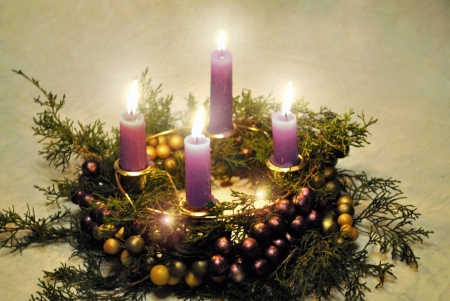 Advent wreath with lighted candles  Stock fotó