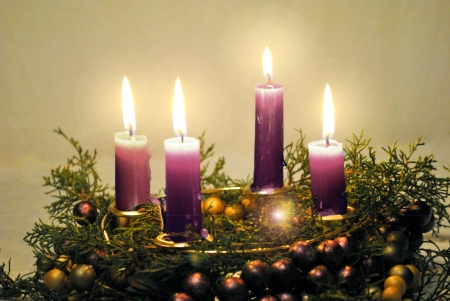 Advent wreath with lighted candles  Stock Photo