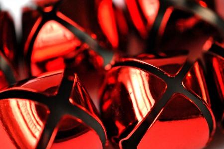 Closeup of red jingle bells
