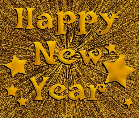 january 1st: Golden starburst background with message Happy New Year.