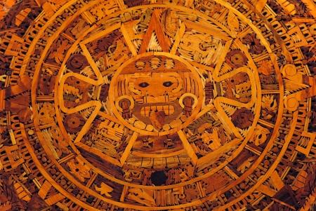 timekeeping: Detail of wooden plaque showing the ancient Mayan calendar