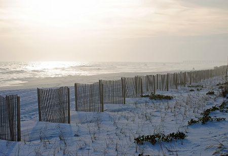 A winter afternoon with fog on Pensacola Beach, Florida, USA   Miles of storm fence protect the beach from erosion