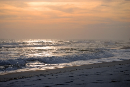 pensacola beach: Winter sunset on Pensacola Beach, Florida  Stock Photo