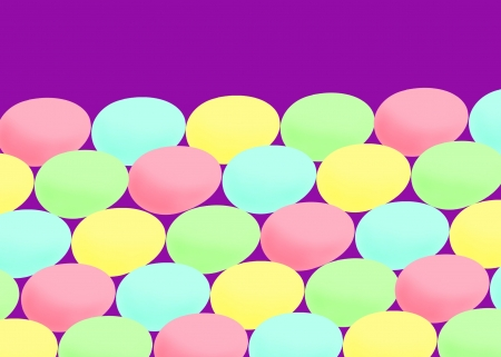 Row after row of colored Easter eggs on a bright background   Plenty of copy space
