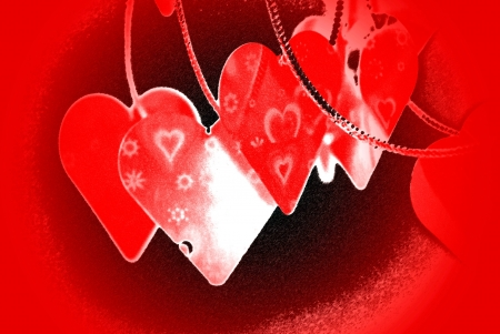 Hearts on a string illustration