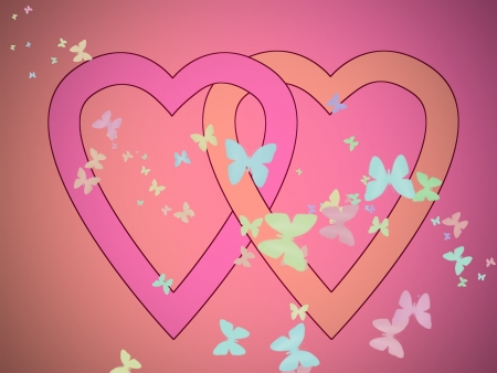 Interlaced pink hearts amid a swarm of pastel butterflies