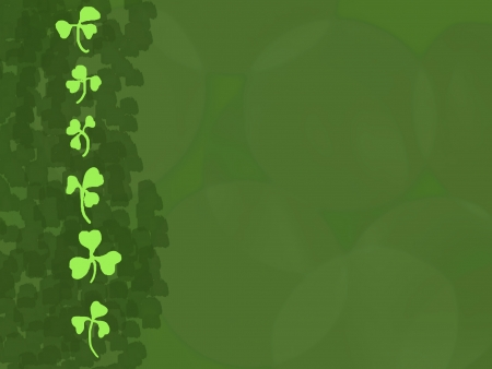 paddys: A column of bright green shamrocks as a border on a green background. Illustration