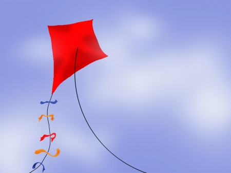 A red kite flying in the blue sky with puffy white clouds. Illustration