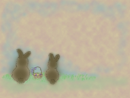 Illustration of two bunnies with Easter basket sitting in the grass.  Plenty of copy space. Stock Vector - 18225069