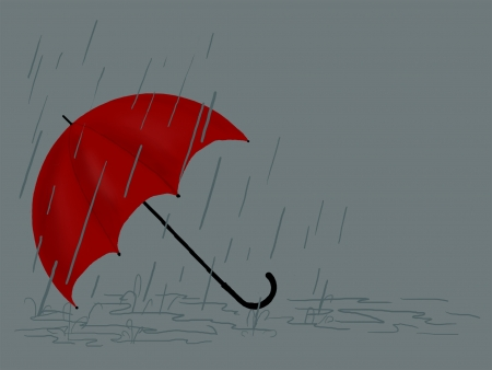 Open red umbrella on a grey background with raindrops and puddles