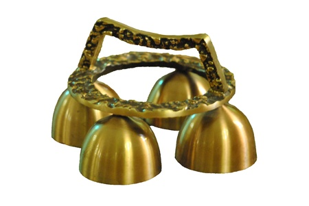 In many religions, bells are used to signal the most solemn moment of worship   Set of Mass bells isolated on white