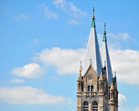 steeples: The twin steeples of St  Joseph s church in Joliet, Illinois, USA