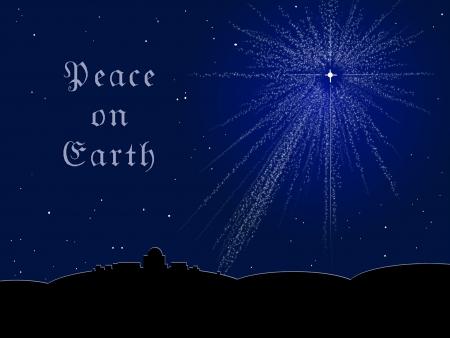 De Bethlehem ster schijnt in een middernachthemel; bericht leest Vrede op Aarde