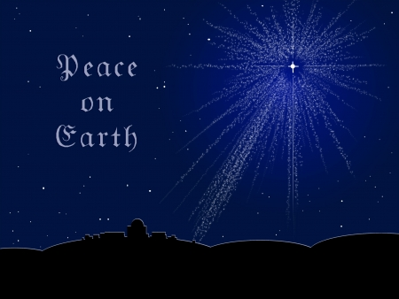 The Bethlehem star shining in a midnight sky; message reads  Peace on Earth  Vector
