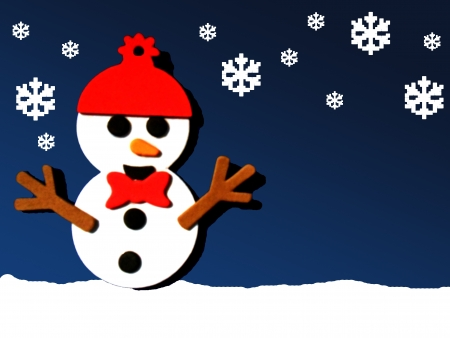 season: Illustration of a snowman with a red hat and bow tie