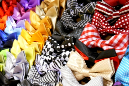 Bow ties on display in the store. Stock Photo