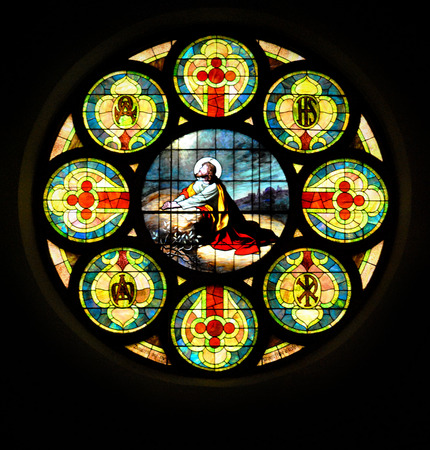 Stained glass window depicts Christ in Gethsemane  Stock Photo